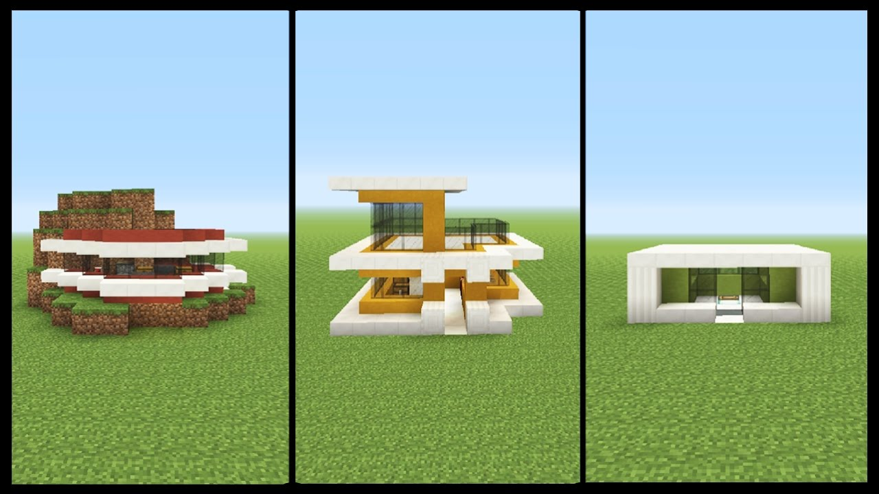 3 Minecraft Starter MODERN HOUSE Designs YouTube