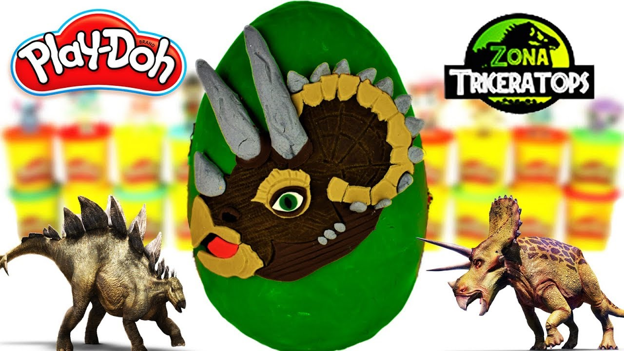 Huevo Sorpresa Gigante de Triceratops de Jurassic World de Plastilina Play doh en Español