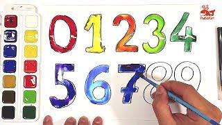 Акварель ЦИФРЫ раскраска : урок рисования для детей
