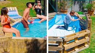 POOL PARTY Ideas! DIY pool from pallets, DIY Bar, DIY Speaker and DIY Jacuzzi