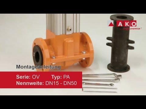 Montageanleitung: Schlauchquetschventil (mechanisch), Serie OV, Typ PA, DN: 15, 20, 25, 32, 40, 50