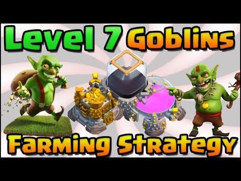 Clash of Clans - Level 7 Goblins + Super Queen Walk Farming Attack Strategy for TH10 & TH11