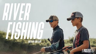 My ALL-TIME FAVORITE place to FISH! // River fishing with my son Kade // Project E
