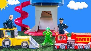 Paw Patrol Lookout Tower Defended By Assistant and Officer Ryan From PJ Mask Baby Gekko