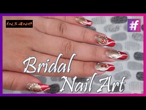 Indian Wedding Nail Art Bridal Nail Art Tutorial Youtube