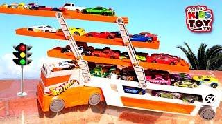 Hot Wheels Mega Hauler Truck, Fire truck, Ambulance Educational Videos TaTaToyzzz