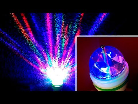 Lamp RGB E27 LED rotating magic ball 3W   Test and disassembly of the lamp