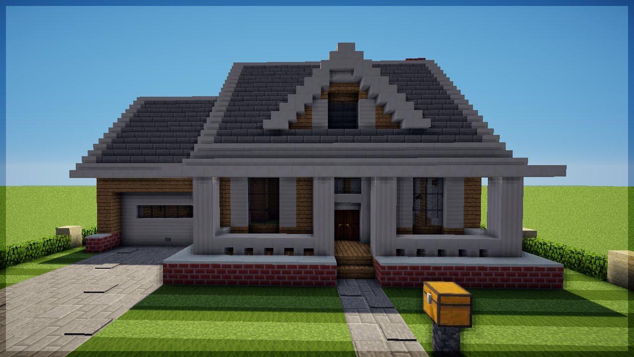 Minecraft como construir uma casa americana 3 youtube for Casa moderna americana