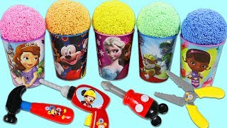 Rainbow Play Foam Surprise Cups Doc McSutffins Sofia the First with Disney Mickey Mouse Tools!