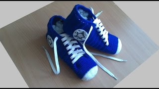 Кеды мужские-вязание крючком.Носки-кеды для мужчин(Socks-shoes crochet for men)Вязаные кеды крючком