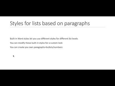Microsoft Word: Using styles for lists (Part 2--paragraphs with bullets)