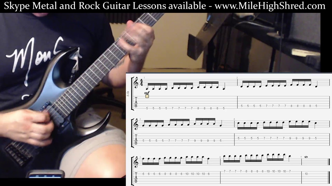 Alternate Picking Bursts Guitar Speed Exercise Aeolian 3 Notes