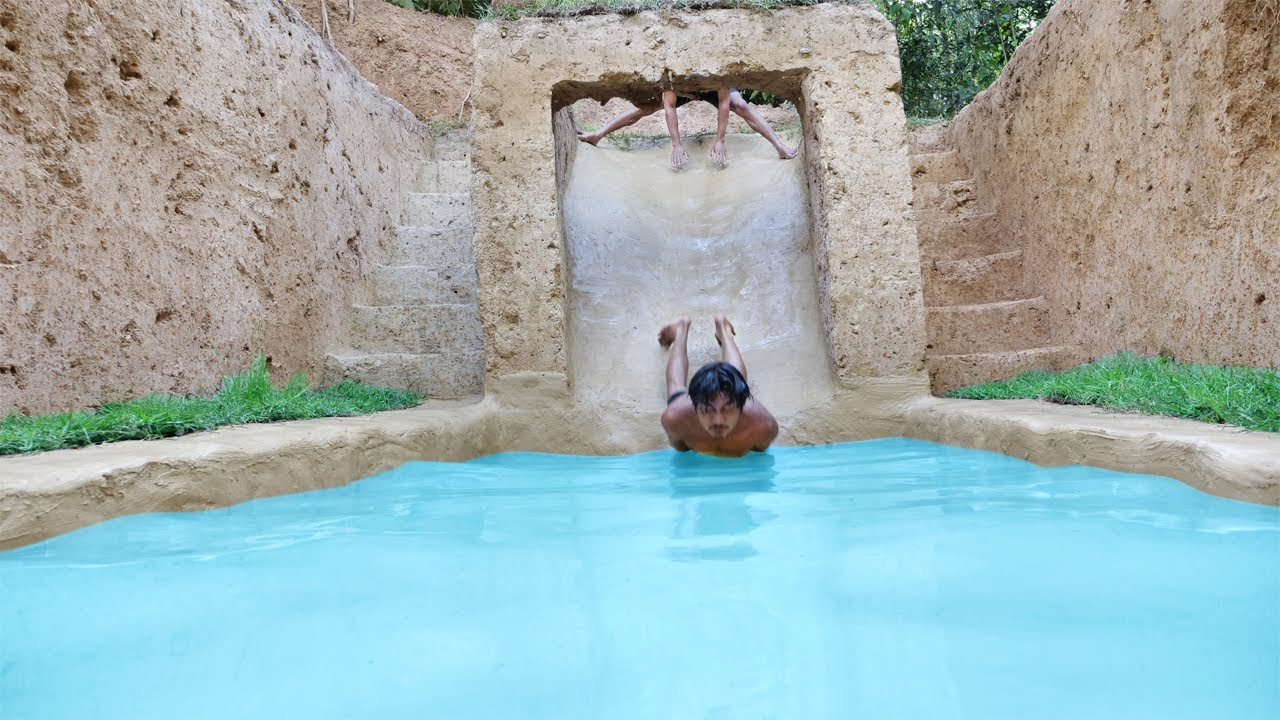 I Build Underground Tunnel Water Slide Park Into Swimming Pool