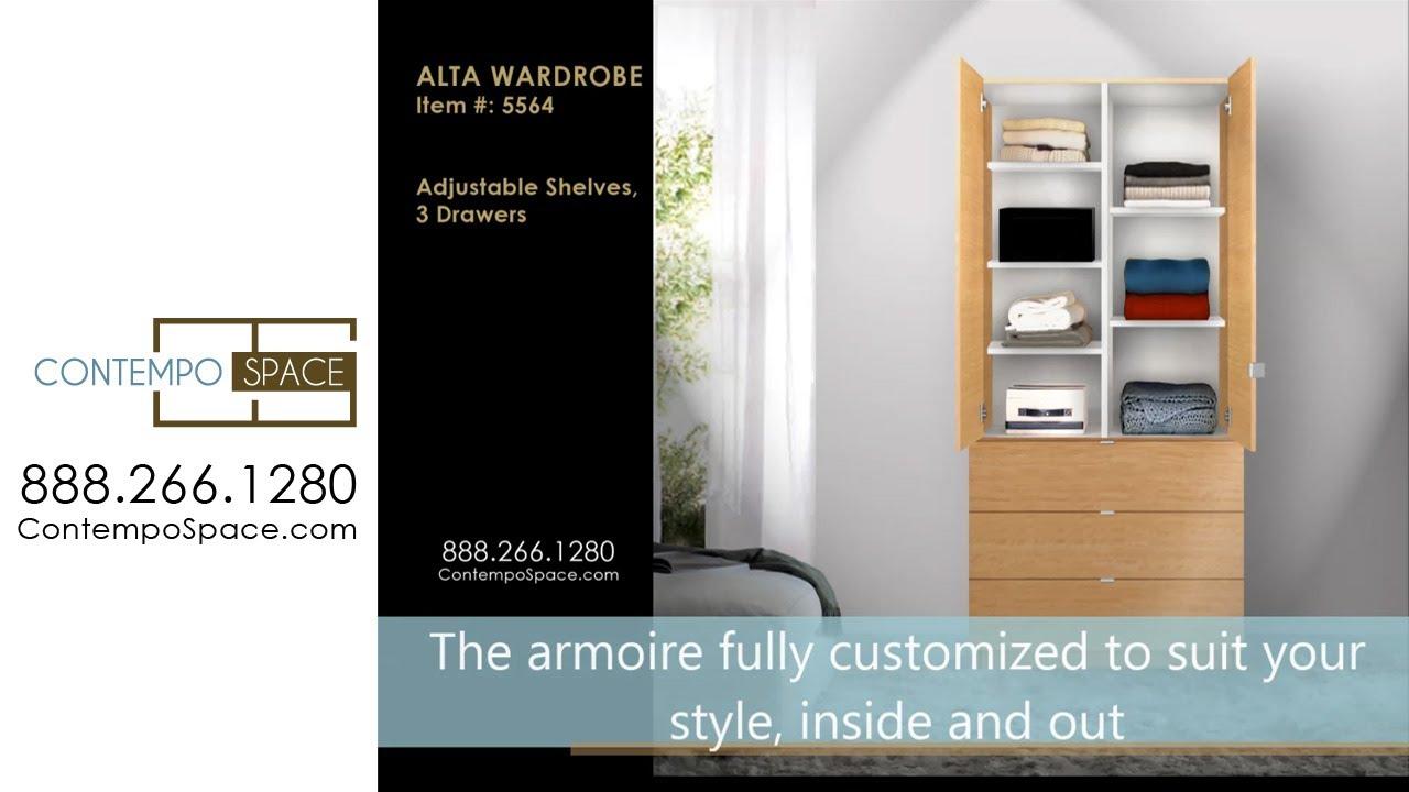 Alta Wardrobe Armoire   Adjustable Shelves, 3 Drawers | Item #: 5564