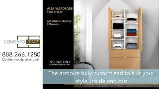 Alta Wardrobe Armoire - Adjustable Shelves, 3 Drawers | Item #: 5564