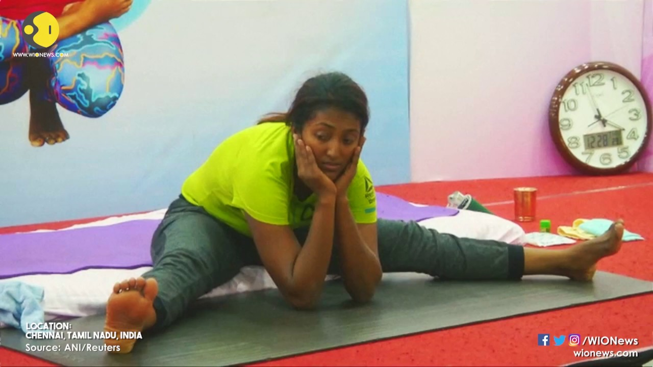 Indian Woman Sets Record For Marathon Yoga Youtube