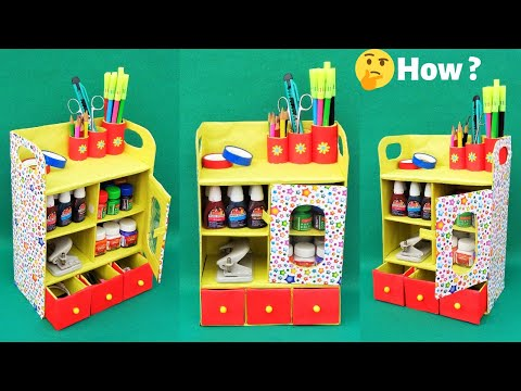 DIY Desk Organizer from waste shoebox | Best out of waste | Space saving room organizer