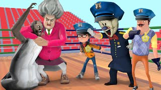 Scary Teacher 3D Miss T Funniest Tranning to Become a Cop With Ice Scream, Nick and Granny