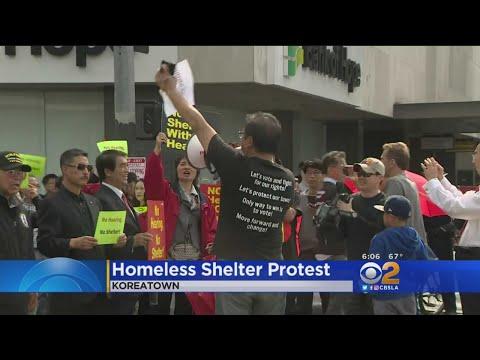 Koreatown Residents Protest City's Plan For Emergency Homeless Shelter