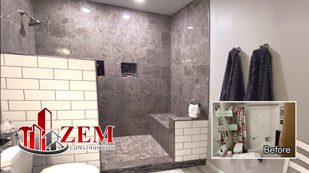large walk in tile shower bathtub conversion full bathroom remodel time lapse