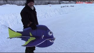RC flying in ice cold -20 celsius - Flite test models - Hobby King fish