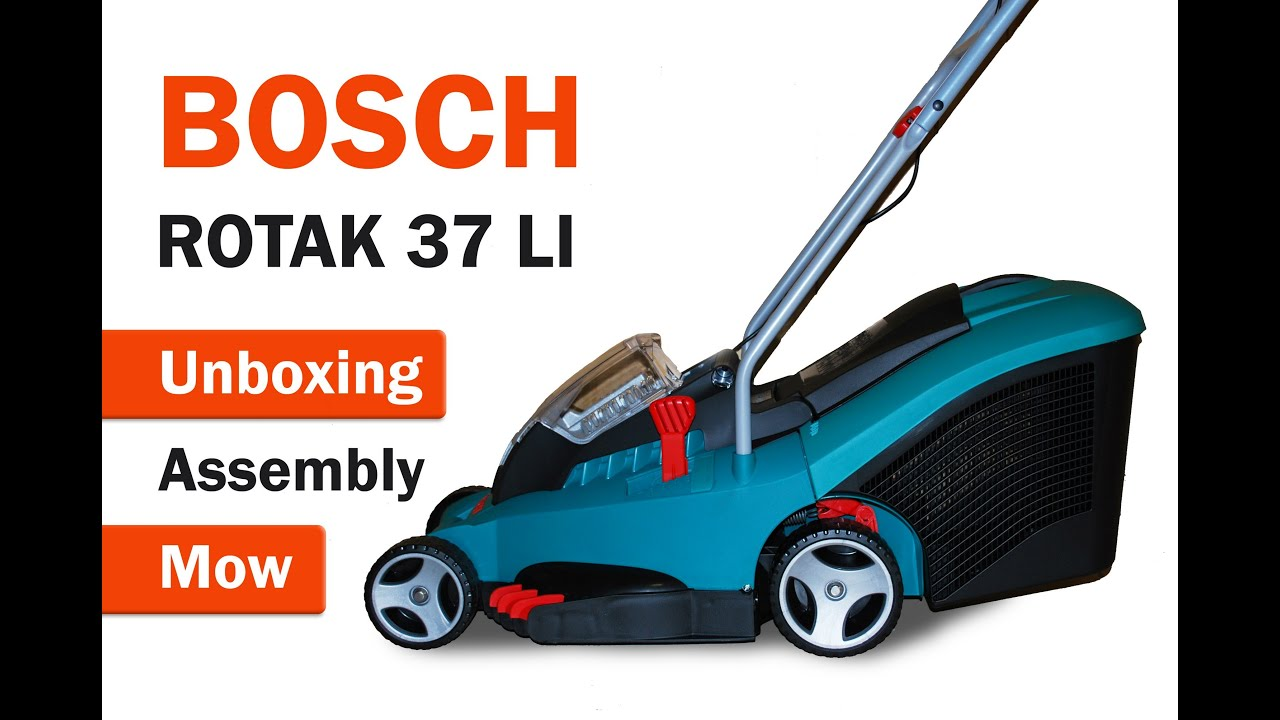 bosch rotak 37 li unboxing to mow youtube. Black Bedroom Furniture Sets. Home Design Ideas