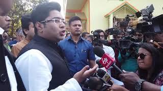 Abhishek Banerjee addresses the media after meeting the family of AITC MLA Satyajit Biswas