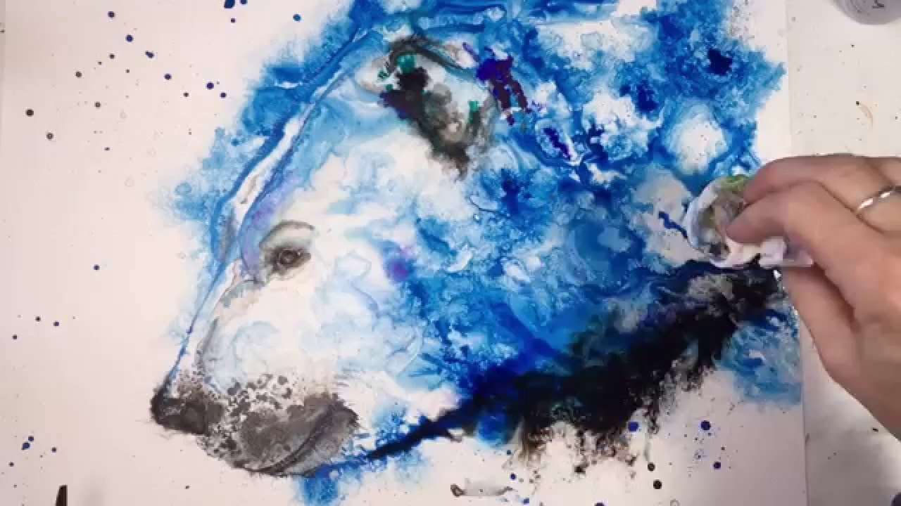 Speed painting a polar bear using acrylic and india inks for How to paint on paper with acrylic paints