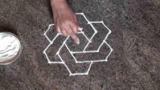 6 dots rangoli /daily easy rangoli/ simple rangoli/ chukki rangoli with 6 dots/ಚುಕ್ಕಿ ರಂಗೋಲಿ
