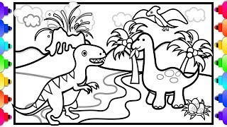 Learn to Draw and Color Dinosaurs and a Volcano for Kids 💚 T Rex, Brachiosaurus and Pterodactyl 💚