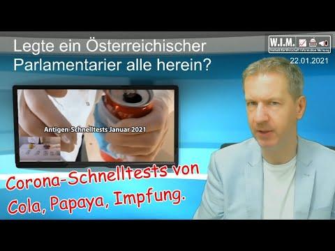 Corona-Schnelltests von Cola, Papaya, Impfung. Legte Österreichischer Parlamentarier alle herein?