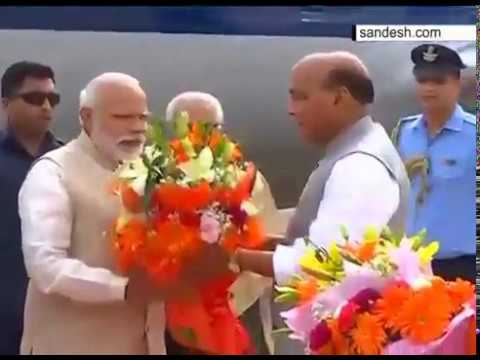 PM Narendra Modi arrives at Lucknow airport to attend swearing in ceremony of Yogi Adityanath