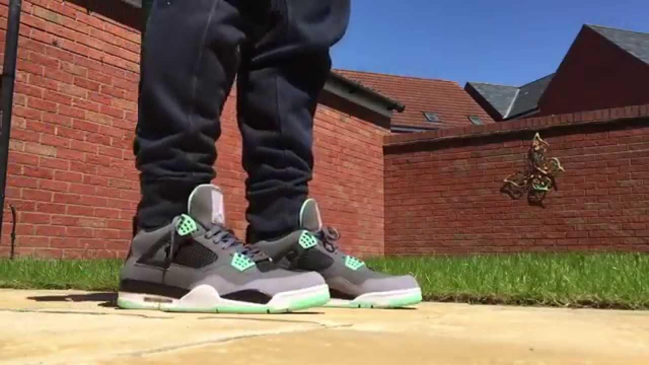 a789b1475661db New Jordan Pickup! Jordan 4  Green Glows  Unboxing On Feet - YouTube