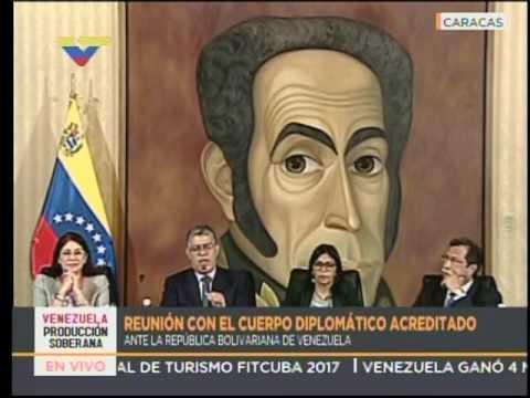 Elias Jaua y Delcy Rodríguez desde la Cancillería, reunión con el cuerpo diplomático