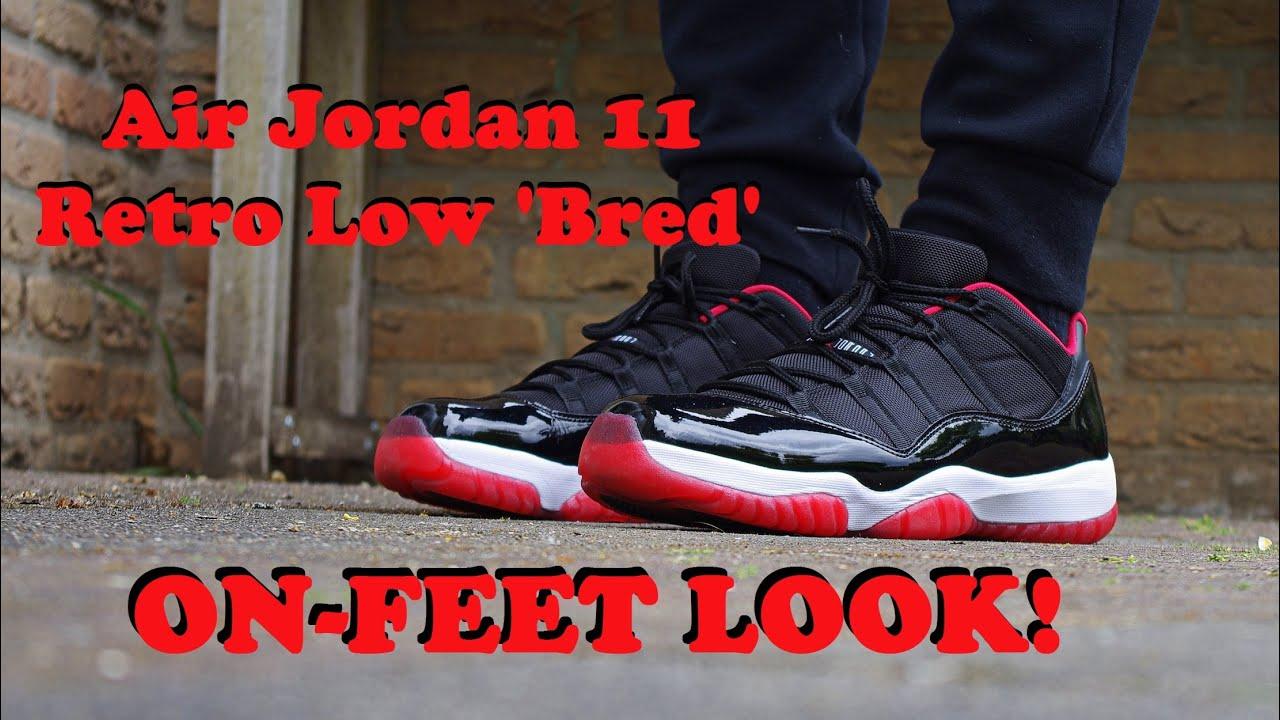 2015 Air Jordan Xi 11 Retro Low Bred On Feet Look Youtube