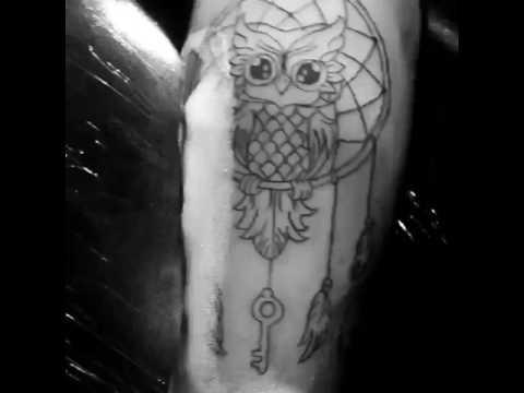 Tatuaje De Buho Y Atrapasueños Youtube