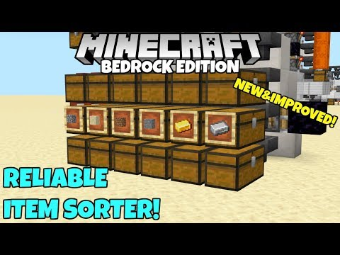 Minecraft Bedrock: New, Reliable Item Sorter! Cheap And Easy To Build!