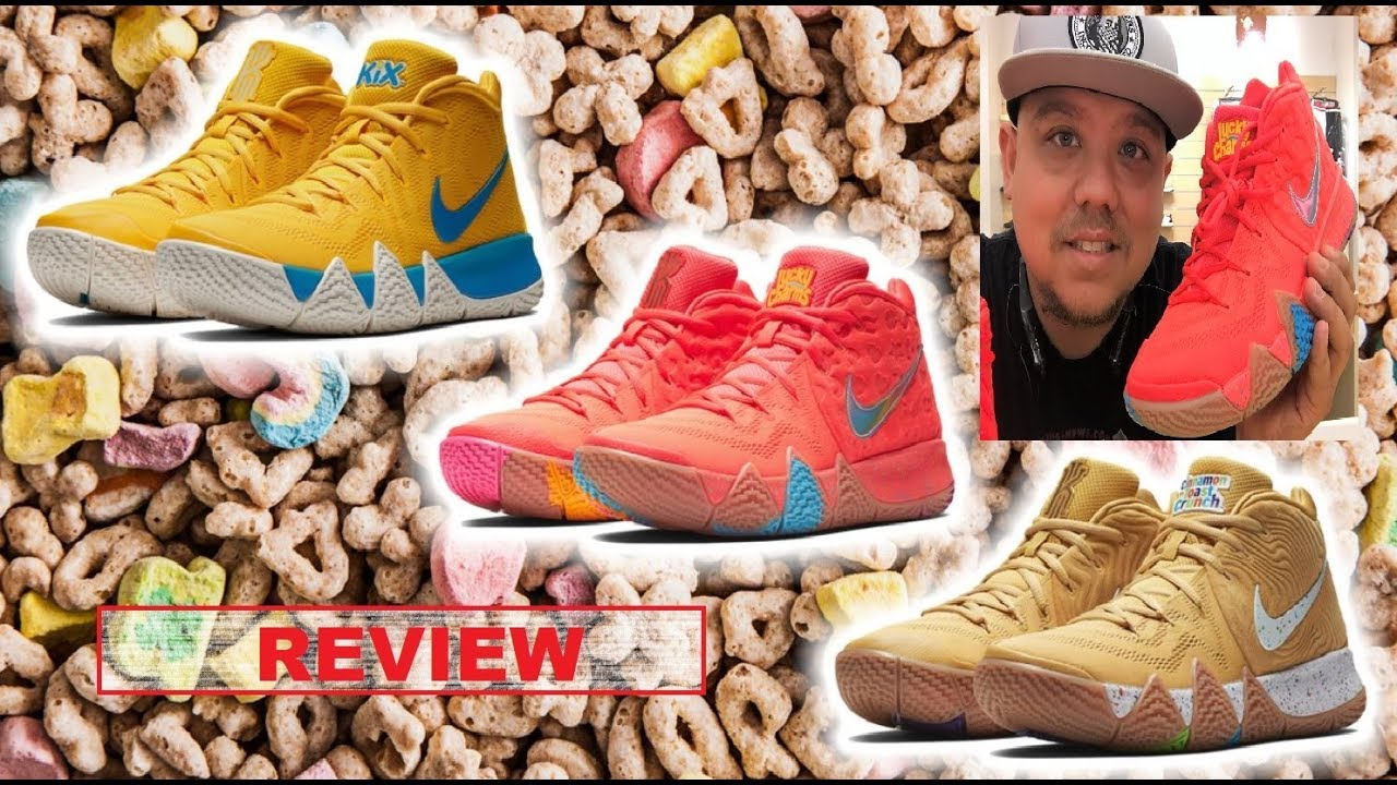 quality design 61a7e e2698 NIKE KYRIE 4 CINNAMON TOAST CRUNCH,LUCKY CHARMS & KIX CEREAL PACK SHOE  REVIEWS BY DJ DELZ