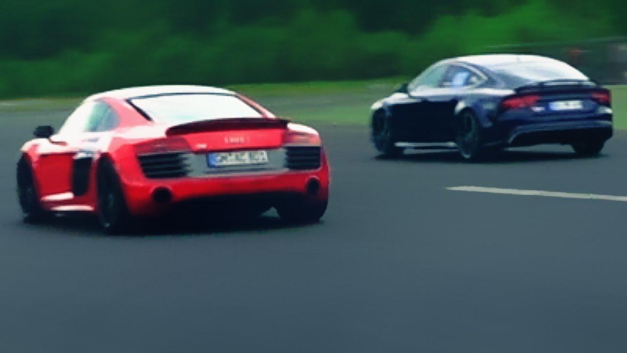 Audi Rs7 Vs R8 V10 Plus Race Rennen Acceleration V8 Sound