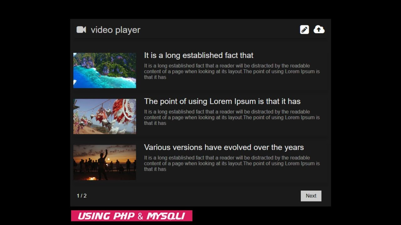 How to Create Online Video Player Using PHP & Mysqli