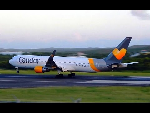 Beautiful HD Condor 767-300ER Sunset Landing into Antigua (TAPA)