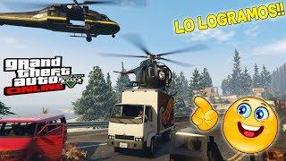 RETO!! ATERRIZAR HELICOPTEROS ENCIMA DE CAMIONES!! GTA V CON AMIGOS!