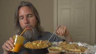 ASMR Let's Eat Indian Food (Goat Biryani, Garlic Naan, Mango Lassi)