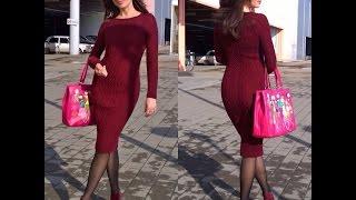 Бесплатный МК часть 4 по вязанию спицами облегающего платья Марсала : собираем изделие, вяжем реглан