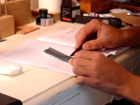 777 Pen Repair - Grinding an Italic Nib
