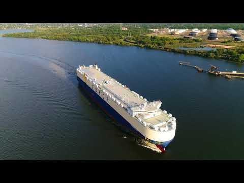 Aerial View of Vehicle Carrier Morning Lena Leaving Port of Philadelphia