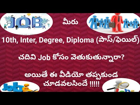 Jobs openings for 10th, Inter, Degree, Diploma(Pass/Fail) students