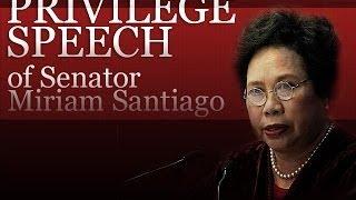 Livestream: Privilege Speech of Sen. Miriam Defensor Santiago