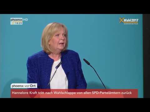 NRW wählt: Rede von Hannelore Kraft nach Wahlniederlage am 14.05.2017