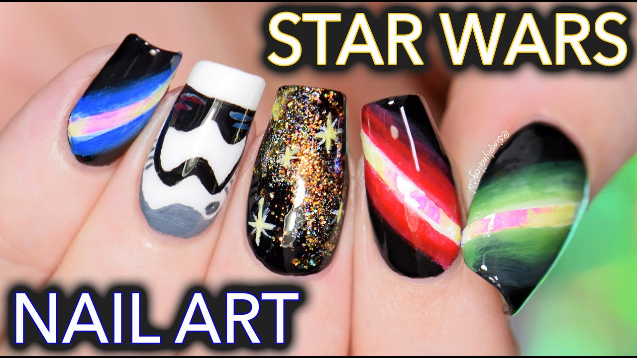 Star Wars Nail Art May The Freehand Be With You Youtube